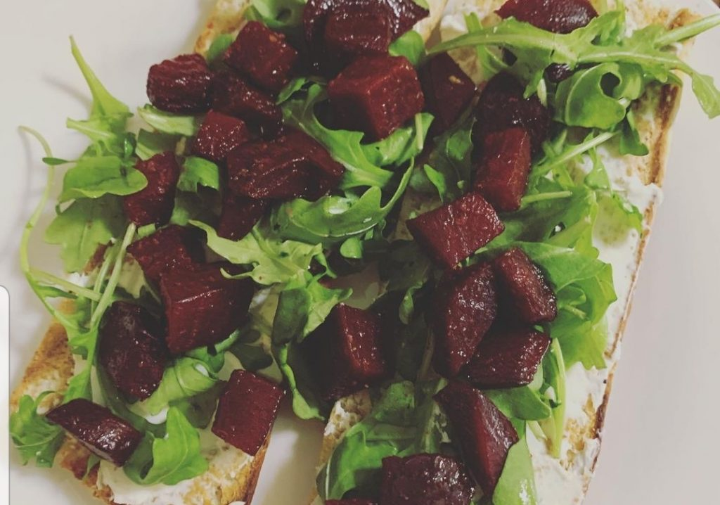 beets, arugula and goat cheese toasts at Cafe Vert, Miami