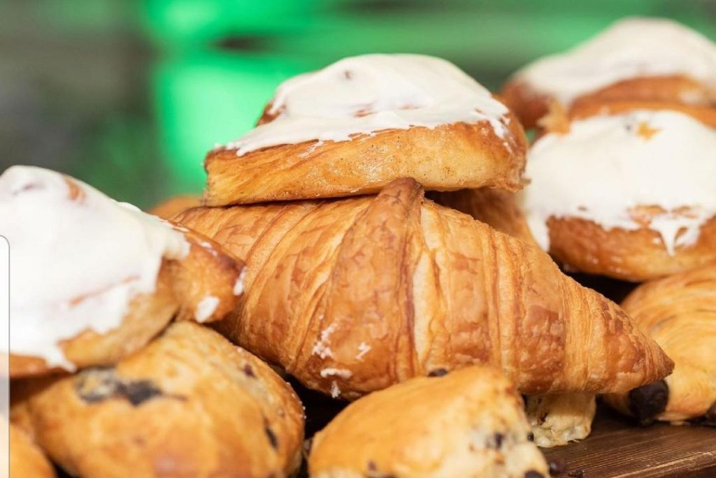 Croissants, Cinnamon buns with cream cheese frosting and scones from Brooklyn Artisan Bakehouse