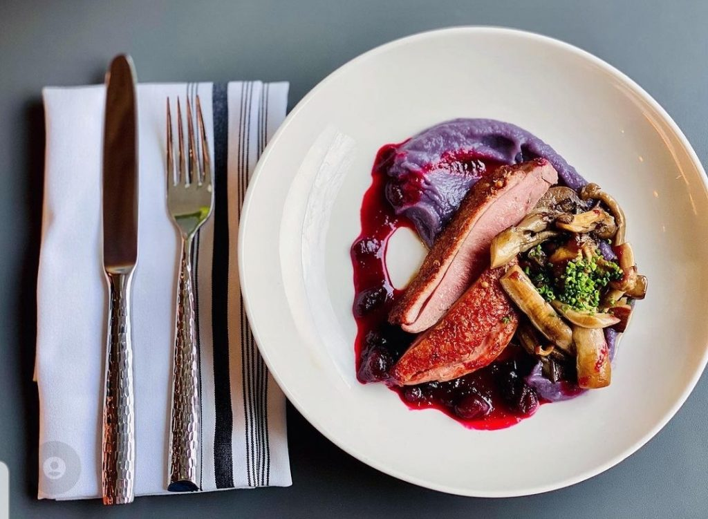 duck in beet sauce with roasted vegetables at Gruit, Brooklyn