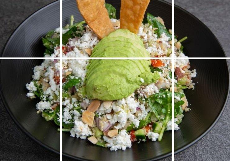 fresh feta salad with whole avocado at Cafe Noir, Miami