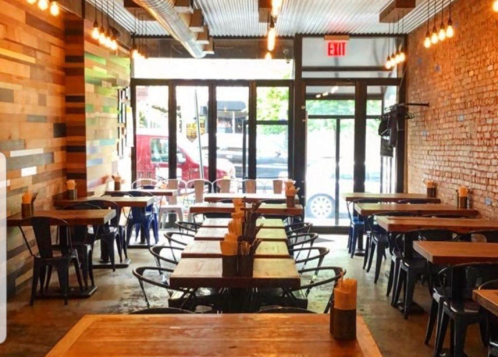 wide open bright restaurant Boeuf & Bun, Crown Heights