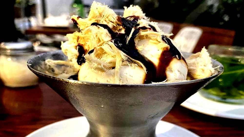 italian gelato with halva shavings and chocolate sauce
