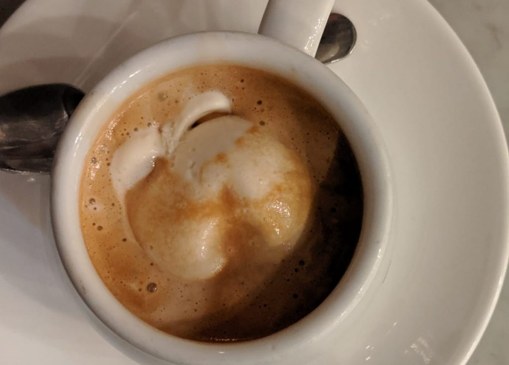 espresso drink with ice cream inside affogatto