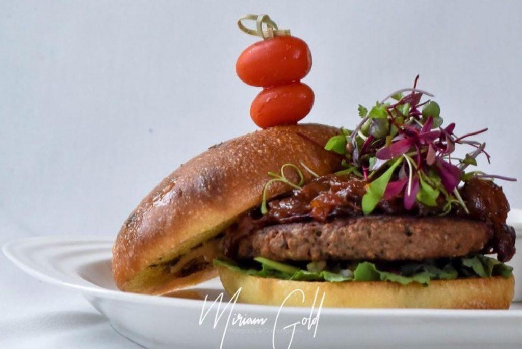 vegan vegetarian impossible meat burger at Pescada Dairy, Flatbush