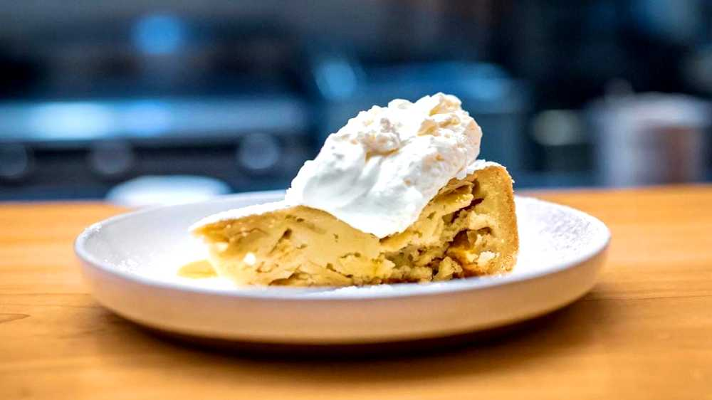 apple cake with honey drizzle and creme fraiche