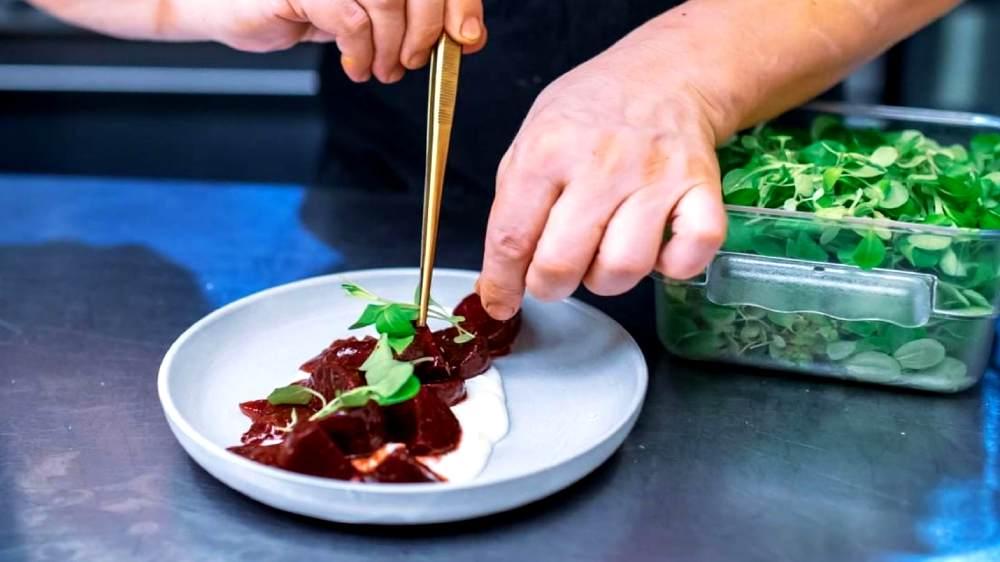 roasted baby beet salad with yogurt and micro-greens at Abaita