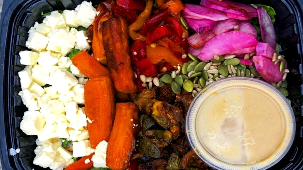 salad with roasted veggies, feta cheese and nuts at Ice Cream House